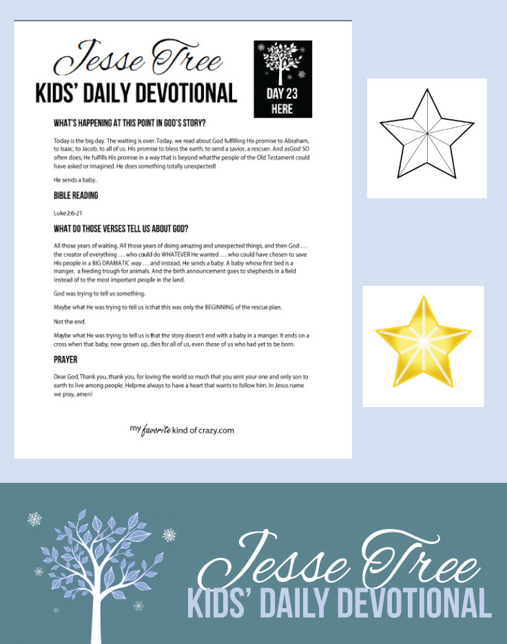 photo relating to Printable Bible Devotions for Kids named Ridiculous Little ones Bible Devotional: Jesse Tree Working day 23 - My Preferred